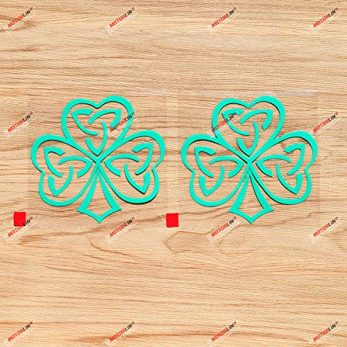 Irish Ireland Shamrock Celtic Knot Vinyl Decal Sticker - 2 Pack Green, 4 Inches - Style A for No Background for Car Boat Laptop Cup Phone