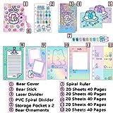 FEICHAIQAZ Cuaderno Coreano Lindo A6 Carpeta Diario Kawaii Bloc de Notas Diario Espiral Manual para niña Cuaderno de Notas Organizador de Anillo Organizador Papelería, Rosa, A6