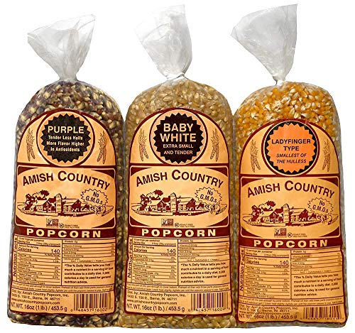 Amish Country Popcorn | 3 - 1 lb Bags | 1 lb Baby White, 1 lb Ladyfinger, and 1 lb Purple Popcorn Kernels Variety Pack | Old Fashioned with Recipe Guide (3 - 1 lb Bags)