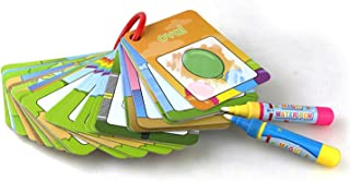 Mumoo Bear Water Painting Graffiti Book Card 26pcs Chidren's Early Education Cognitive Cards 1-9 Number Colors and Shapes ...