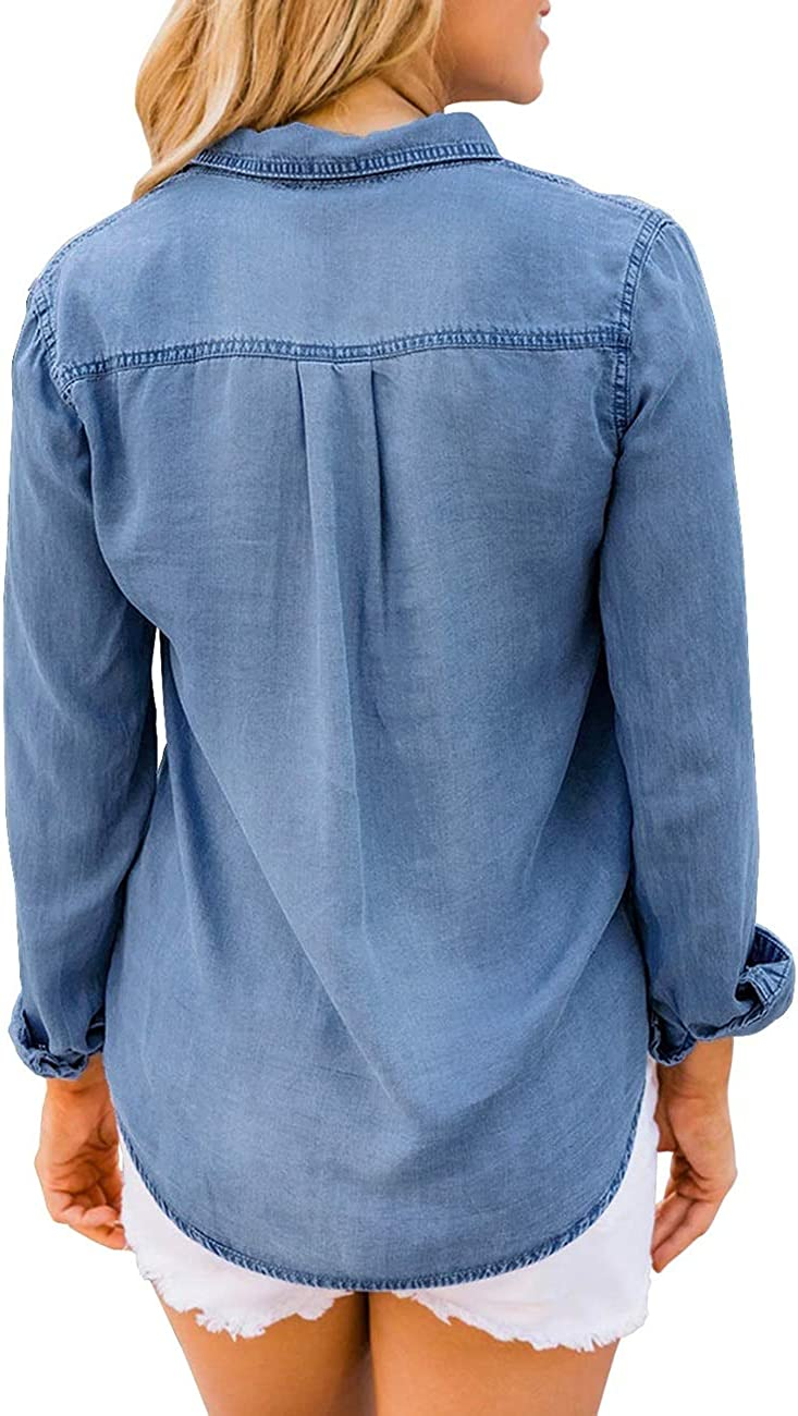 Vetinee Women's Button Down Denim Shirt Collared Casual Long Sleeve Pocket Tops