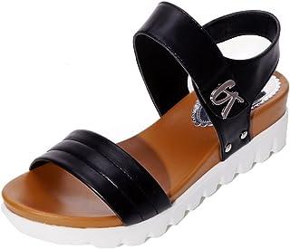 dd6c78e9 Sandalias de Verano de Mujer Sandalias de Moda Plana Envejecida Zapatos  cómodos de señoras Zapatillas Planos