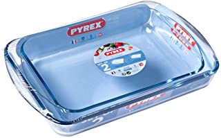 Pyrex Essentials Roasters Set, 2 Piece Set - 1x 3.7 Litres and 1x 2.6 Litres, Clear, 1138906