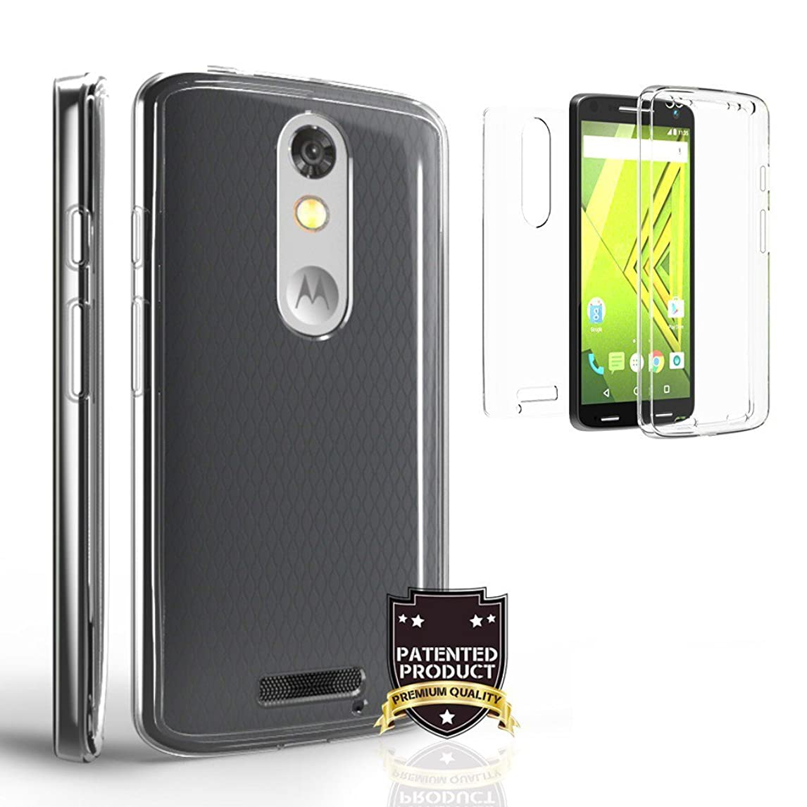 Tri Max Suitable for Droid Turbo 2 Clear Case, XT1585 [Edge Protector][Ultra Slim][Shock Absorbing] Durable 360o[Full Body] Protection [Crystal Clear] Flexible Gel Case (2 Piece Front and Back) skbs7587357960