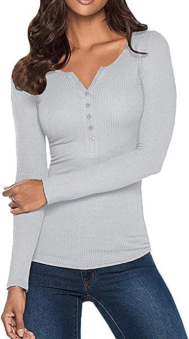 Camiseta de Mujer Prendas de Punto Cuello en V Camisetas ...