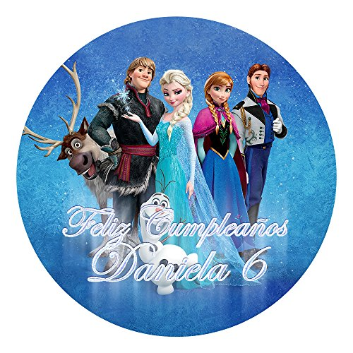 OBLEA de Papel de azúcar Personalizada, 19 cm, diseño de Disney Frozen Azul
