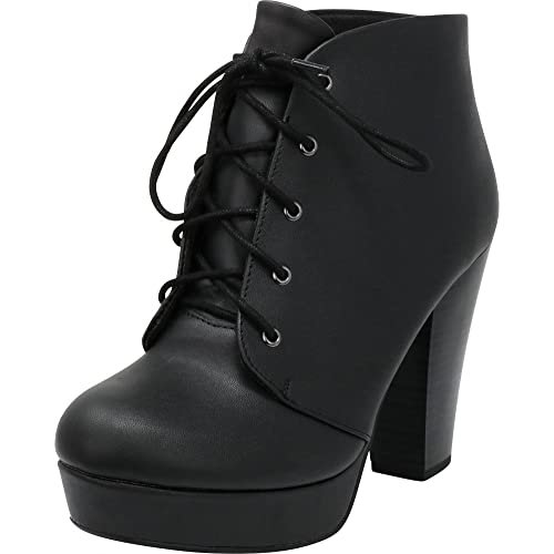 bfc2a6f54cda Cambridge Select Women s Lace-up Platform Chunky Stacked Heel Ankle Bootie