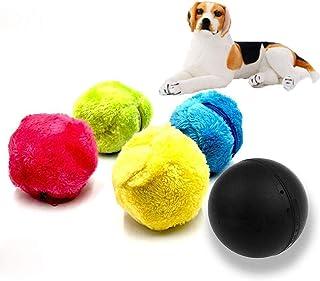 Lightton ペット 電動 ボール 犬 猫 おもちゃ フロアクリーン おもちゃ自動掃除機 クリーニング用品 ストレス解消 猫犬子犬遊び用 (1x電動ボール, 4x绵フランネルカバー)