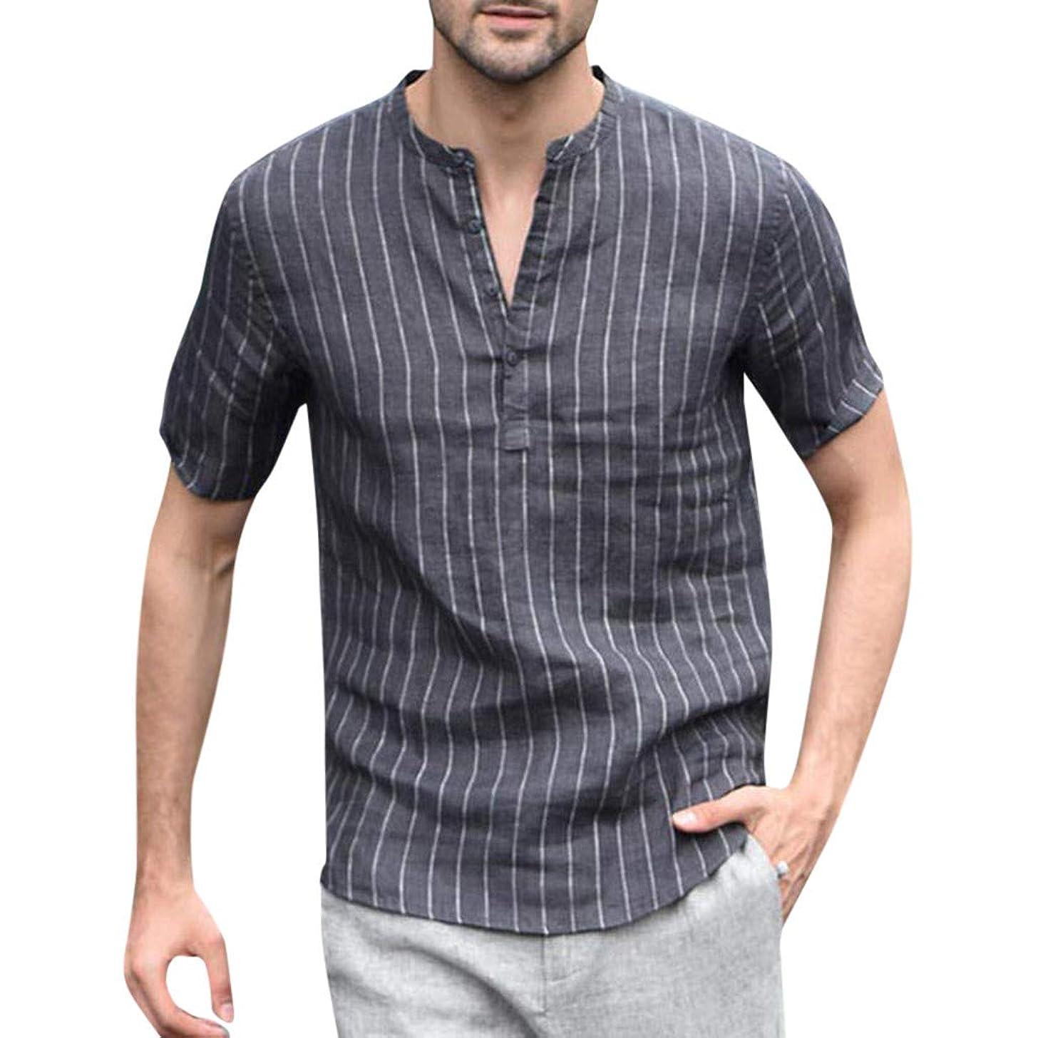 YOMXL Men V-Neck Striped Tops, Ultra Light Cotton Linen Short Sleeve Tops Casual Half Button Down Loose T-Shirt