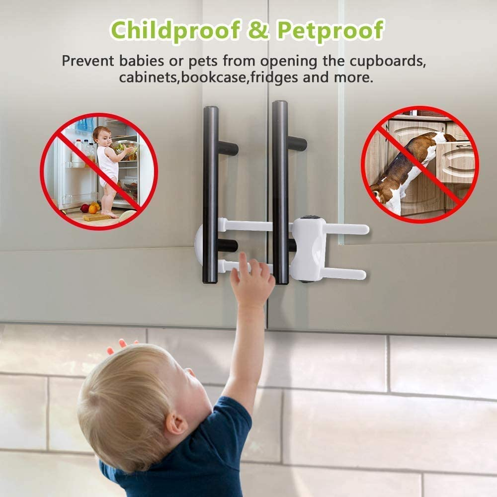 Baby Proofing Cabinet Locks, Adjustable U Shaped Child Safety Latches for Cupboard, Fridge, RVs丨Quick Installation丨Easy to Use Side-by-Side Refrigerator Lock, 2Pack