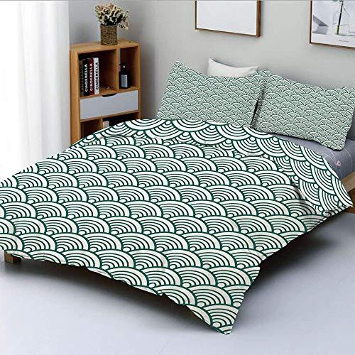 Set copripiumino, motivo seigaiha cinese tradizionale giapponese Scale astratte Ispirazioni asiatiche Decorativo Set di biancheria da letto 3 pezzi decorativo con 2 fodere per cuscini, verde giada bia