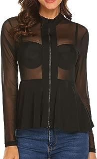 Women's Sexy Slim Mesh Sheer See Through Clubwear Long Sleeve Stretchy Peplum Shirt Blouse Tops