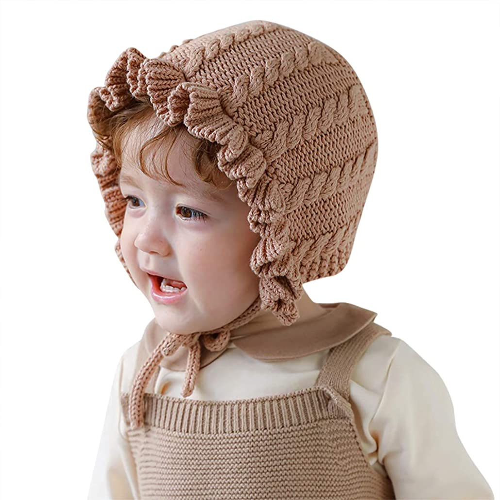 アレンジ取り消す蛇行Vivobiniya幼児の女の子素敵なフラウンスニット帽子ベビーボンネット新生児帽子0-8y