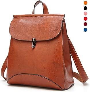Women Fashion Backpack Shoulder Bag Handbag, PU Leather Ladies Casual Daypack Rucksack Girls School Bag Water Resistant Anti-Theft,Orange