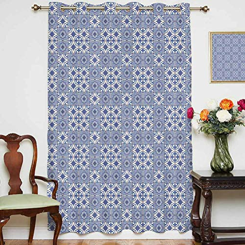 Moroccan Shading Curtains Portuguese Tiles Squares Grid Style Pattern Oriental Motif Arabesque Decorative Grommets Panels Printed Curtains ,Single Panel 63x84 inch,for Glass Door Violet Blue Orange W