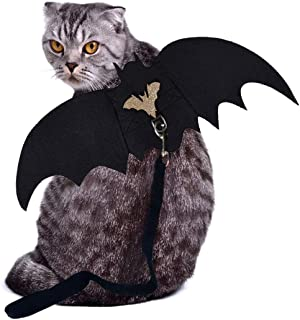 LAWOHO Halloween Pet Costume - Pet Bat Wings with Leash Vampire Cosplay Combination Small Cats & Dogs Funny Holiday Decora...