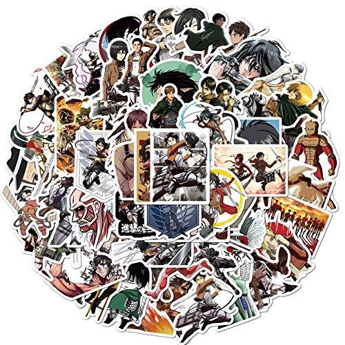 Leotiee 100 Stück gemischte Anime Attack on Titan Vinyls Laptop Aufkleber Pack Wasserdicht Gepäck Skateboard Wasserflasche Aufkleber Aufkleber Bumper Snowboard Dekorieren Geschenk