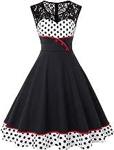 MisShow Damen Elegant 1950er Rockabilly Kleid Spitzenkleider Polka Dots Retro Vintage Petticoat Kleider Faltenrock