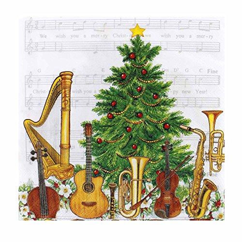 Servietten Weihnachtsmusik - Geschenk für Musiker
