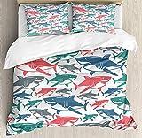 Conjunto de funda nórdica tipo tiburón Tamaño Queen, mezcla de colorido Toro Patrón de familia de tiburón Maestros Predadores de supervivencia Naturaleza peligrosa Funda nórdica con juego de cama y fu