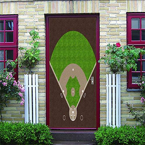 CydAgnF 3D Etiqueta De La Puerta Abanico Plegable Puerta Pegatina Pared Murales para Cocina Sala De Baño Decorativos77X200Cm
