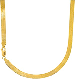 14k Solid Yellow Gold 5mm 5.0mm Flexible Silky Imperial Herringbone Necklace