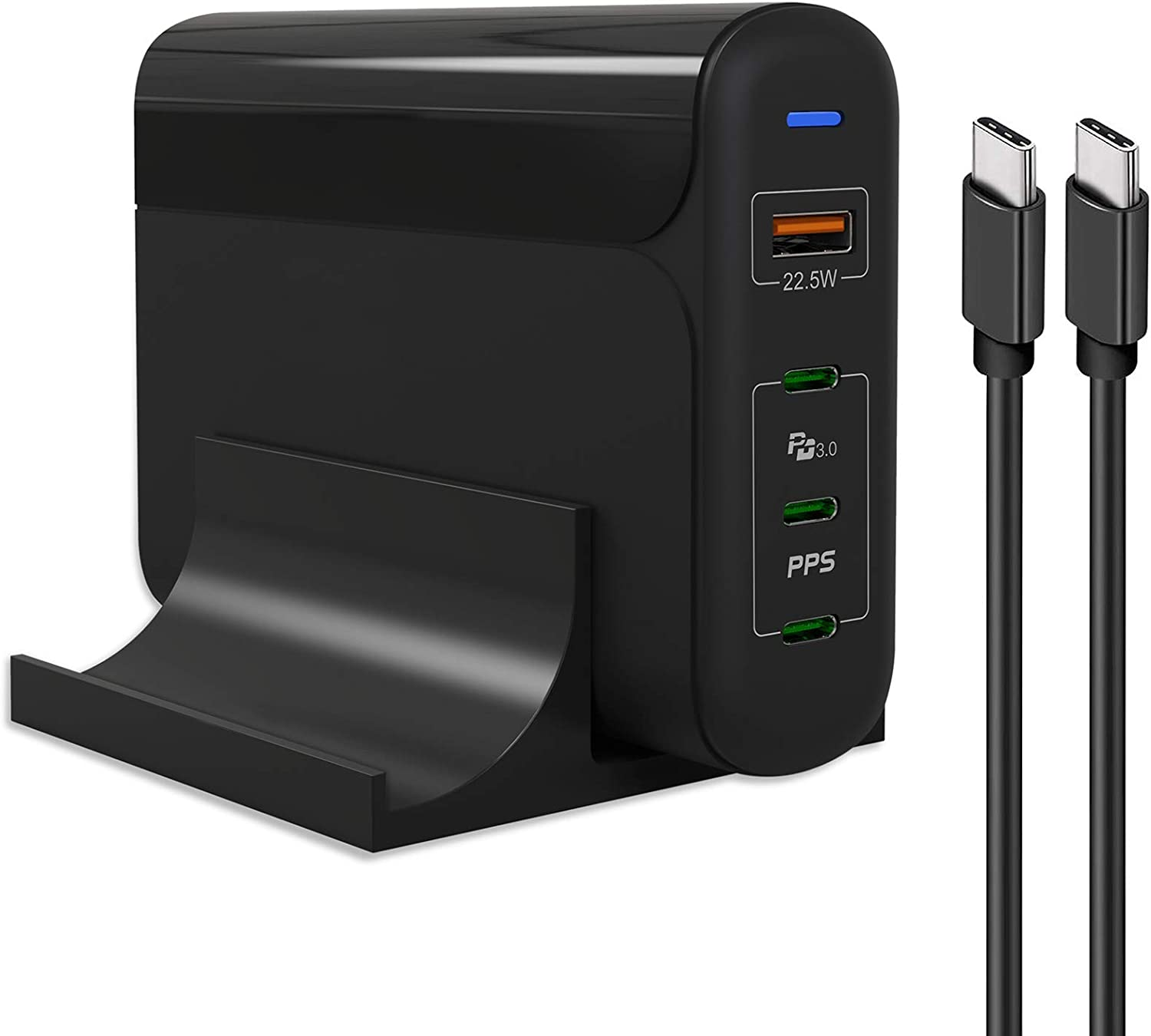 USB C Charger 150W HUNDA 4-Port USB C Desktop Charger with 3 USB-C Power Delivery PPS 4+ & 1 USB 3.0 Fast Charging Station Compatible with iPad,iPhone,Galaxy,MacBook,Pixel(1 USB C Cable Offer)