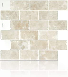 Smart Tiles Authentic Peel and Stick Backsplash And Wall Tiles 10.95 in X 9.70 in (4 Sheets) – Subway (Subway Sora)