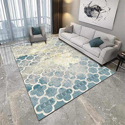 Jiaosa Non Slip Rug Underlay blue Carpet blue square fuzzy old pattern anti-dirty carpet salon durable Washable Rugs 180X250CM Natural Rug 5ft 10.9''X8ft 2.4''