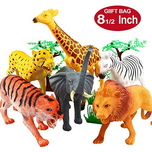 YeoNational&Toys Figuras de Animales, Colección de Animales de Juguete de 20 cm, Muñecos Salvajes de Jungla de Plástico Realistas Para Estimular el Aprendizaje o Regalo de Fiestas Para Niños - 12 uds