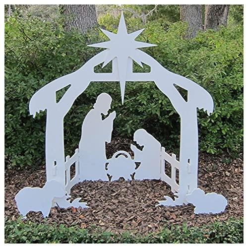 Ornamento da giardino per esterni, decorazione da giardino, sagoma di Natale, scena di Gesù – cartolina di plastica per l'inserimento di erba esterna