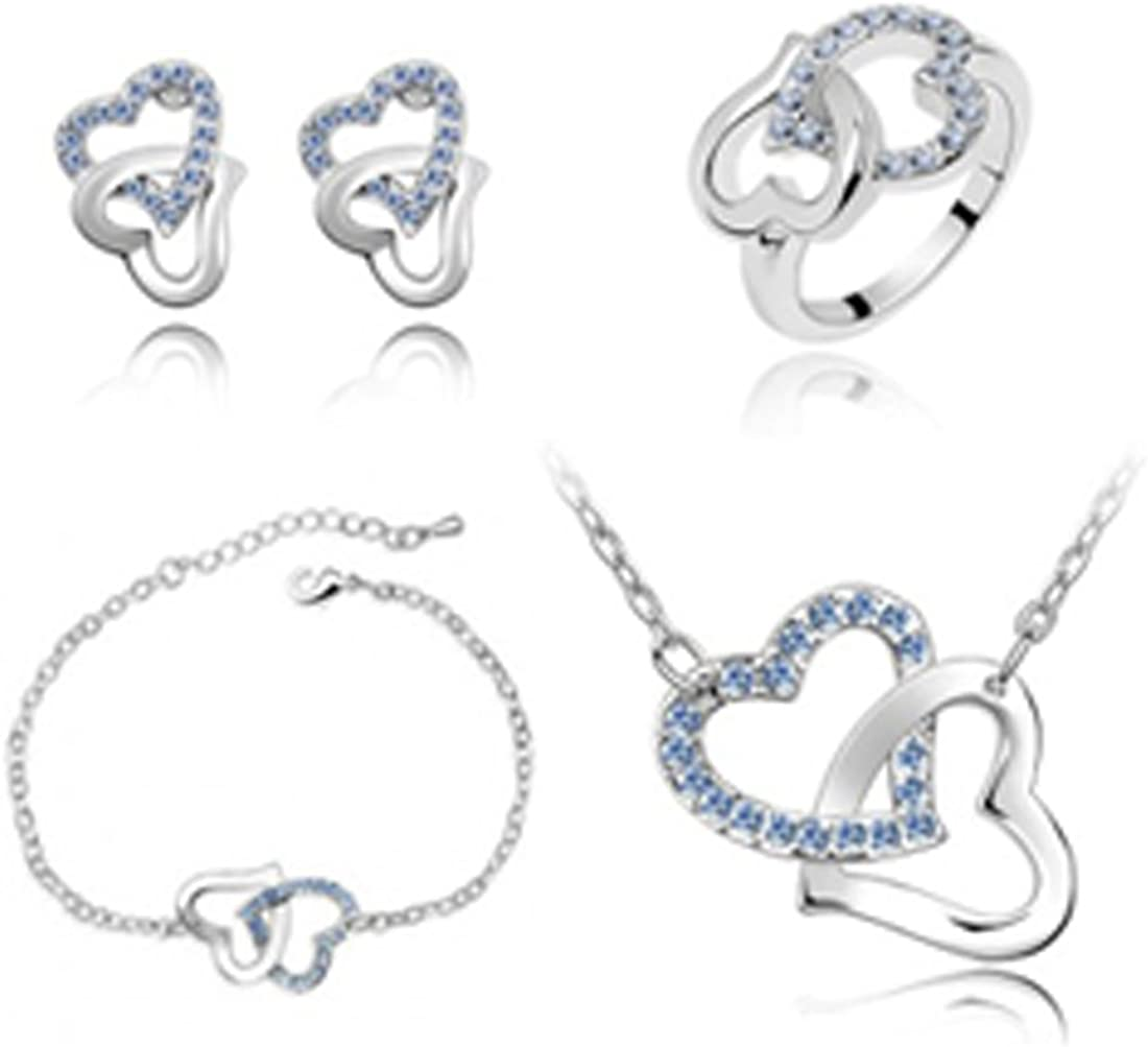 MAFMO Fashion Rhinestone Double Heart Jewelry Set 4pcs Necklace Bracelet Ring Earrings