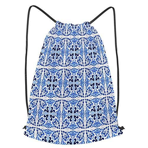 fudin Impermeable Bolsa de Cuerdas Saco de Gimnasio patrón de talavera azulejos portugal ornamento turco Deporte Mochila para Playa Viaje Natación