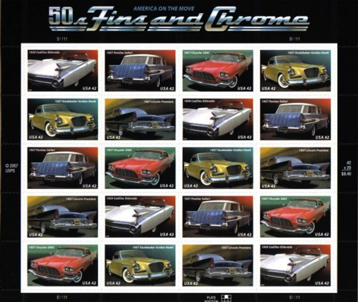 US Stamps 50s FINS AND CHROME  CLASSIC CARS  4357 a Pane of 20 x 42 by USPS