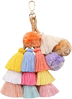 Abuyall Women Colorful Pom Pom Tassel Pendant For Bag Key Chain Handbag