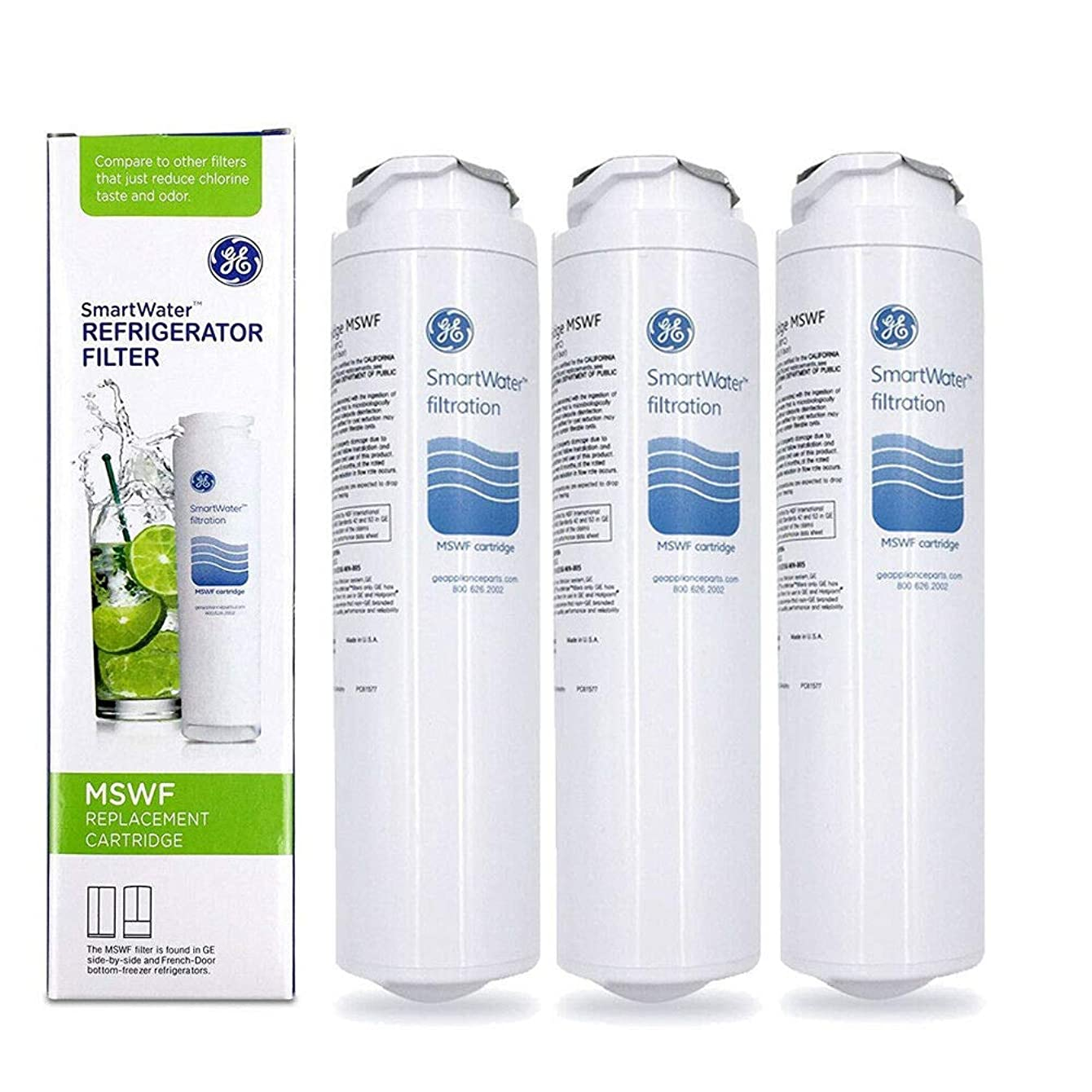3 Pack Genuine OEM Sealed GE MSWF SmartWater Refrigerator Water Filter Cartridge