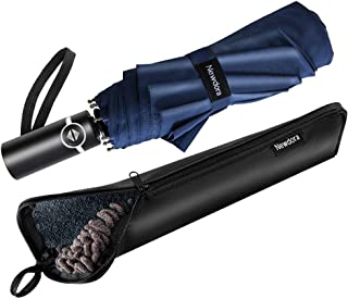 Newdora Windproof Travel Folding Golf Umbrella Auto Open Close Button and Upgraded Comfort Handle, Lightweight 10 Ribs Aut...