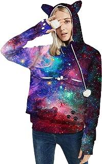 Lataw Women Pullover Sweatshirt Leisure Tops Stars Plus Velvet Hoodies Christmas Long Sleeve Printing Jacket Blouses Costume