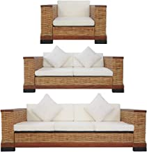 vidaXL 3 Piece Sofa Set with Cushions Outdoor Patio Backyard Couch Lounge Seat Furniture Brown Natural Rattan