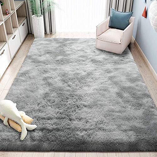 4 x 5.3 Feet HEBE Shaggy Area Rugs Fluffy Living Room Carpet Bedroom Fur Rug Anti-Skid Child Playing Mat Nersery Rug Shag Accent Rug Home Decor
