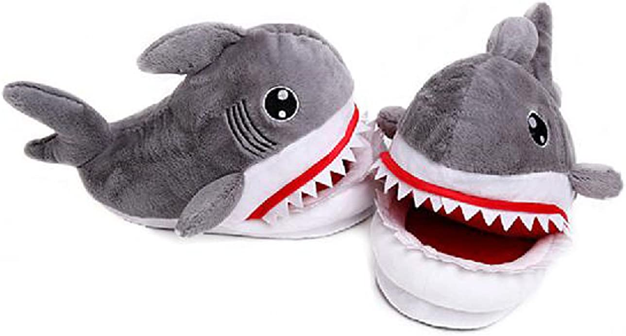 Cartoon Animal Shark Shoes Home Warm Shoes Neutral Soft Plush Home Slippers Grey