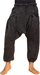 Ode-Joy Uomini Pantaloni da Gabbia di Lino Cotone e Harem-Pantaloni Aladino pantaoni Harem Great Comfort Pantaloni Yoga Hippy per Uomo Donna Larghi Comodi Fit con Cintura Elastica