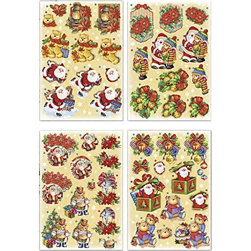 Motivi 3D per decoupage, foglio 21 x 30 cm, con Babbo Natale e orsacchiotti, 4 fogli