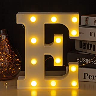 Youzone LED Marquee Letters Plastic LED Letter Lights Alphabet Light Up Sign Decoration Letters A - Z Symbol & (E)