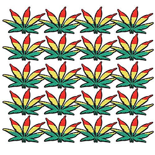 Cikonielf 20 pièces Insigne d'applique de Feuille d'érable brodé Coudre sur des Patchs et des Badges Patch de réparation de Tissu pour vêtements Jeans Vestes Chaussures Filles garçons Enfants