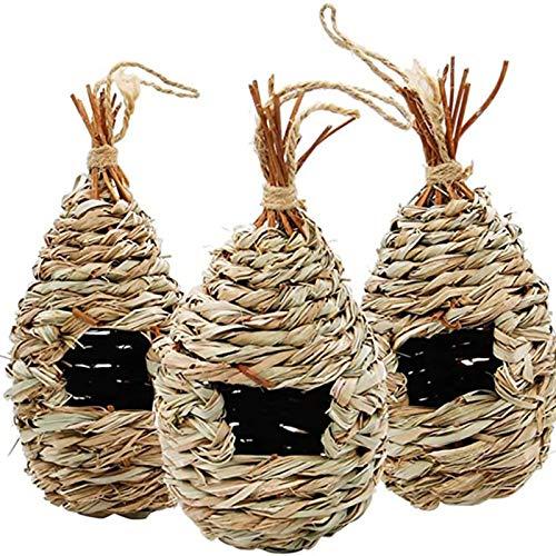 Coospy casetta uccellini, 3pcs cassette per uccelli in paglia intrecciate a mano, accogliente luogo di riposo per uccelli, protegge dagli uccelli del freddo Hideaway dai predatori