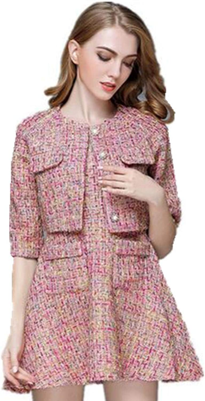 CwrjaL Women 2 Piece Tweed Half Sleeve Single Breasted Jacket Coat Mini Skirt