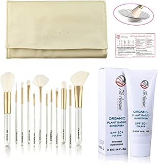 Travel Beauty Skin Care Pack Set of Organic Plant Based Sunscreen Makeup Brush Set with Portable Case