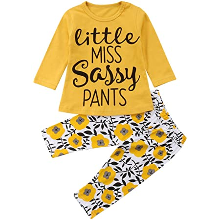 Borlai Toddler Baby Girl Set Cotton Letter Print Long Sleeve Tops + Floral Pants 2Pcs