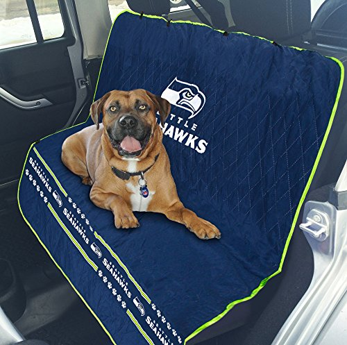 Pets First NFL CAR SEAT Cover - Seattle Seahawks Waterproof, Non-Slip Best Football Licensed PET SEAT Cover for Dogs & Cats.